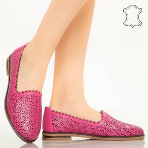 Pantofi piele naturala Timon fuchsia