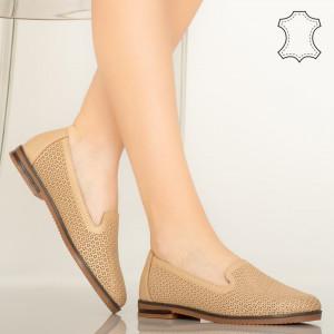 Pantofi piele naturala Velha bej