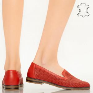 Pantofi piele naturala Velha rosii