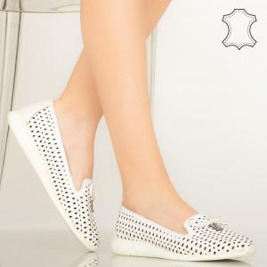Pantofi piele naturala Zuna albi