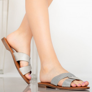 Papuci dama Saga argintii