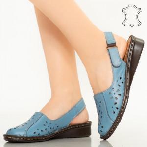 Sandale piele naturala Cest bleu