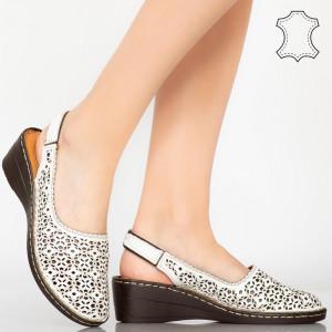 Sandale piele naturala Isco albe