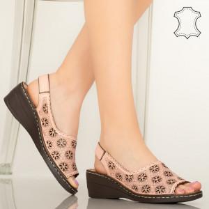Természetes bőr cipő Zarea rózsaszín