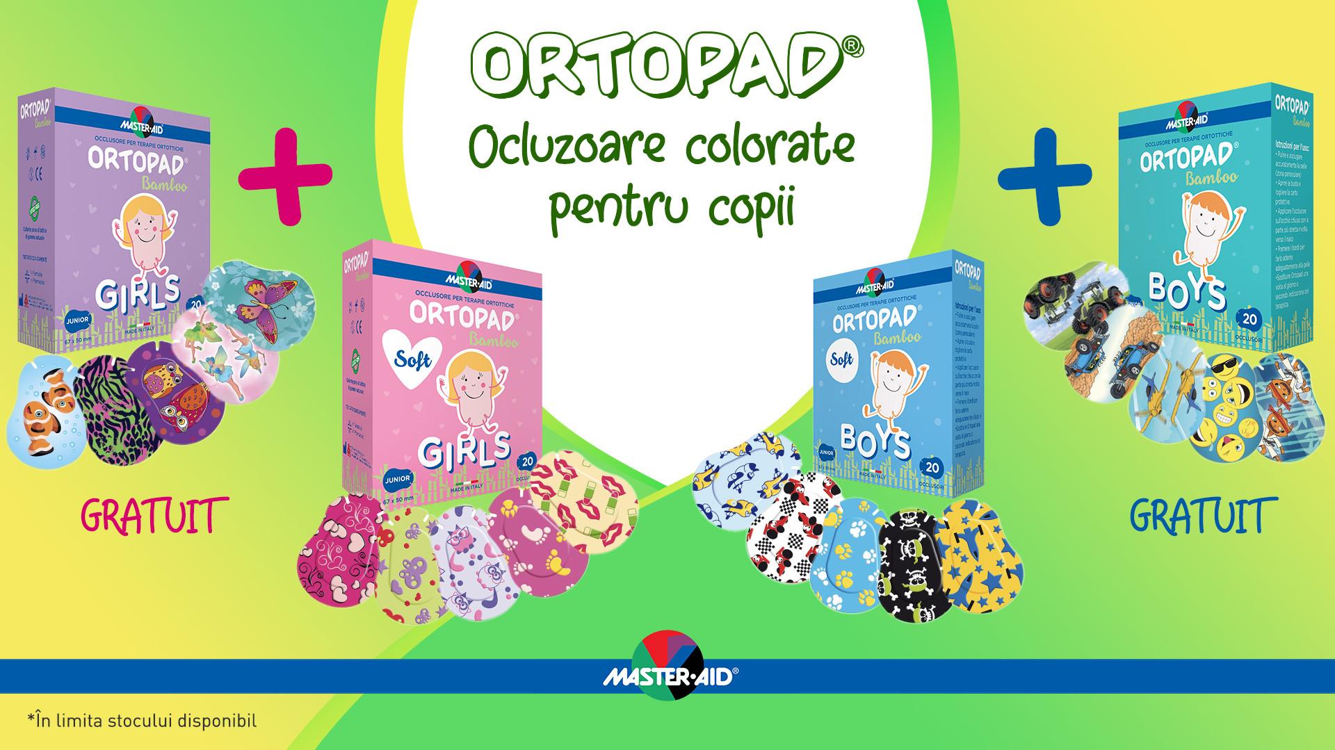 Promotie ocluzoare copii ortopad 1+1 gratuti baieti sau fetite