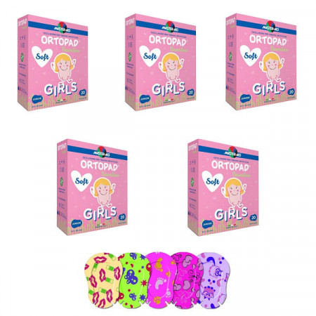 Ortopad Soft Girls – Ocluzoare colorate pentru fetițe, 120 buc