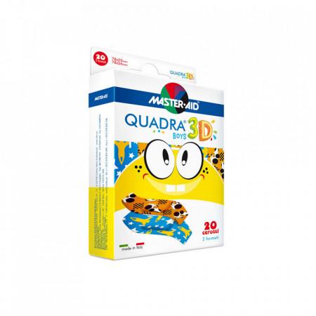 Plasturi Quadra 3D Boys, Master-Aid, pentru băieți, 20 bucăți