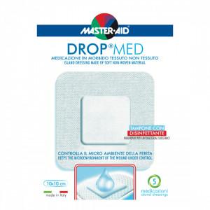 Pansament steril, autoadeziv, cu antiseptic Drop Med 10x10 cm, 5 bucăți