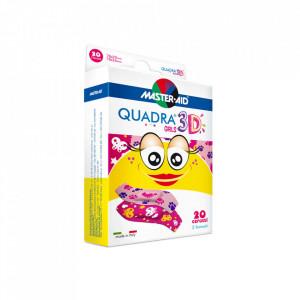 Plasturi Quadra 3D Girls, Master-Aid, pentru fetite, 20 bucăți