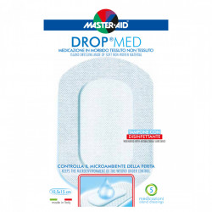 Pansament steril, autoadeziv, cu antiseptic Drop Med 10.5x15 cm, 5 bucăți