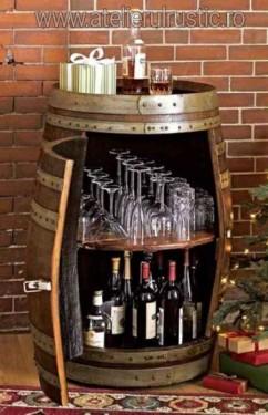 Poze Bar din butoi cu raft pentru sticle si pahare