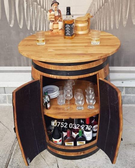 Minibar butoi cu blat masa din lemn masiv