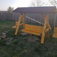 Balansoar  din  lemn  masiv  cu 2 leagăne  copil