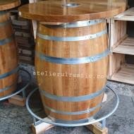 Masa butoi lemn cu suport picioare