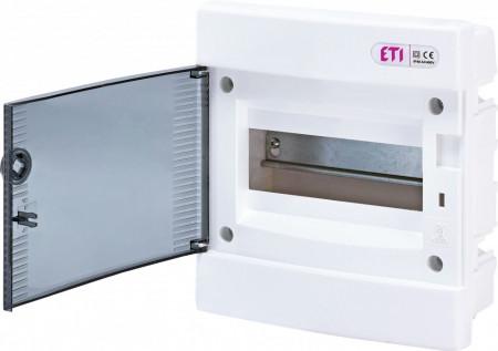 Tablou electric incastrat, 8 module, usa transparenta, IP 40, ETI