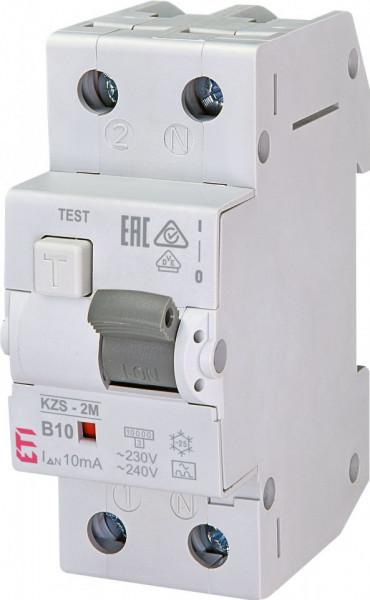 RCBO KZS-2M, tip A, B 10 A, 10 mA, 10 kA, 2 module