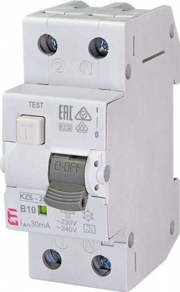 RCBO KZS-2M, tip A, B 10 A, 30 mA, 10 kA, 2 module