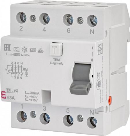 RCCB EFI-P4, tip A, 63 A, 30 mA