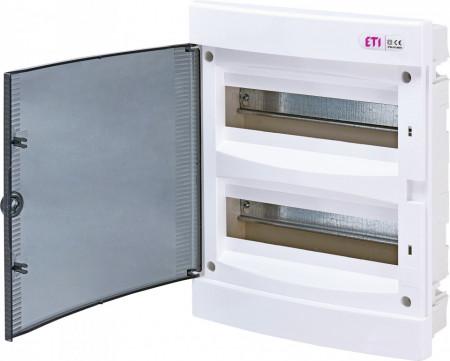 Tablou electric incastrat, 24 module, usa transparenta, IP 40, ETI