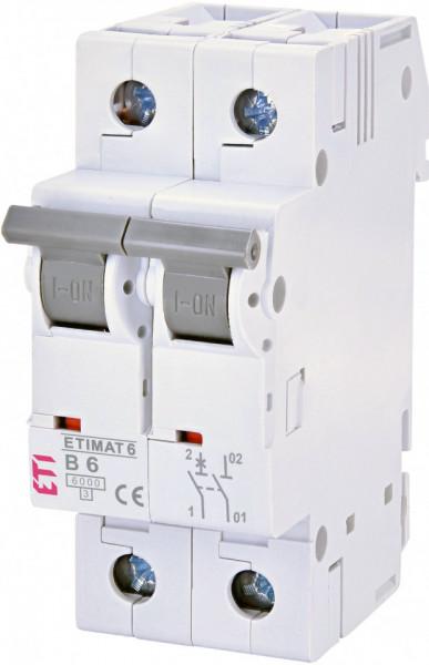 Siguranta automata 1P+N, 2 module, curba B, 6 A, 6 kA, ETI