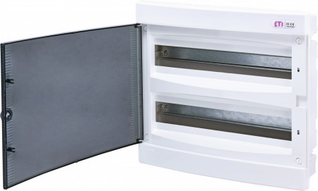Tablou electric incastrat, 2x18 module, usa transparenta, IP 40, ETI