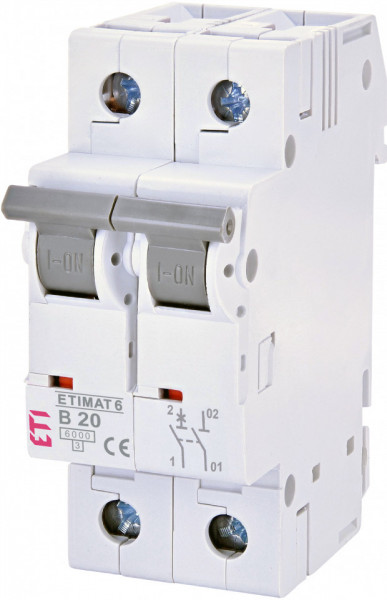 Siguranta automata 1P+N, 2 module, curba B, 20 A, 6 kA, ETI