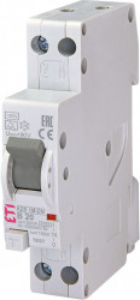RCBO KZS-1M-DN cu protectie la supratensiune, tip A, B 20 A, 30 mA, 6 kA, 1 modul