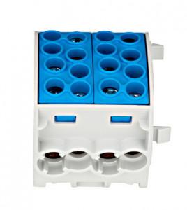 Clemă derivaţie, 35mm², 4 intrări-4 ieşiri, albastră