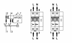 AFDD, seria Lisa, B 25 A, 2 poli, 30 mA, tip A, 10 kA
