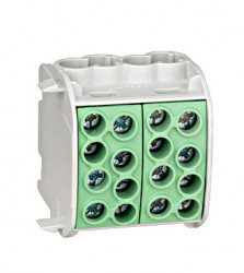 Clemă derivaţie, 35mm², 4 intrări-4 ieşiri, galben/verde