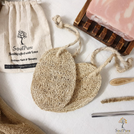 Hand-stitched Natural Loofah (1 piece)