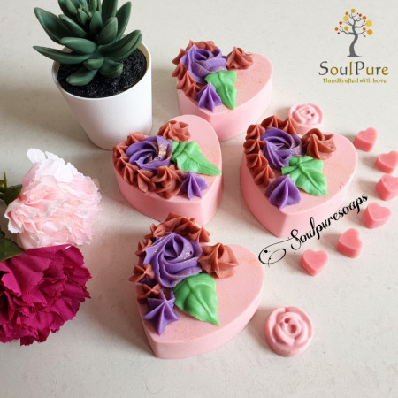 Heart and Roses soap images