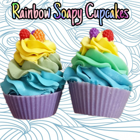 Rainbow soapy cupcakes images