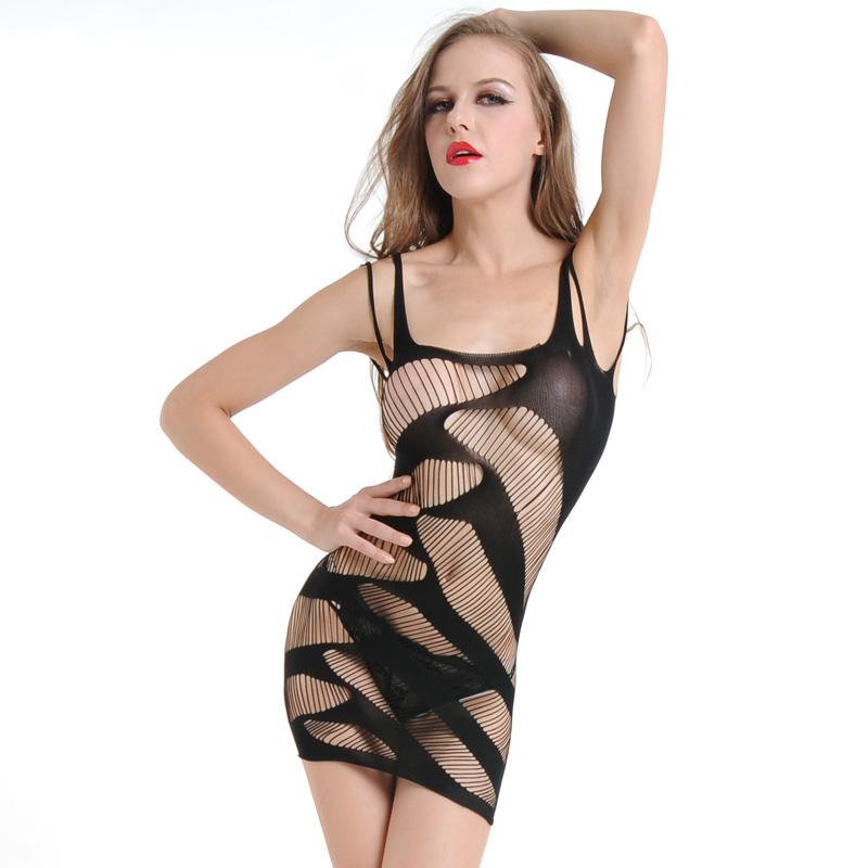 Baby Doll Lingerie Fishnet Mini Dress Chemise Free Size