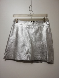 Fustă Zara piele ecologică argintiu
