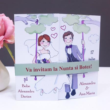 Invitatie 2 in 1 Nunta-Botez Regal NB1