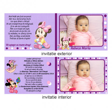 Invitatie Botez Dubla Minnie Mouse 4