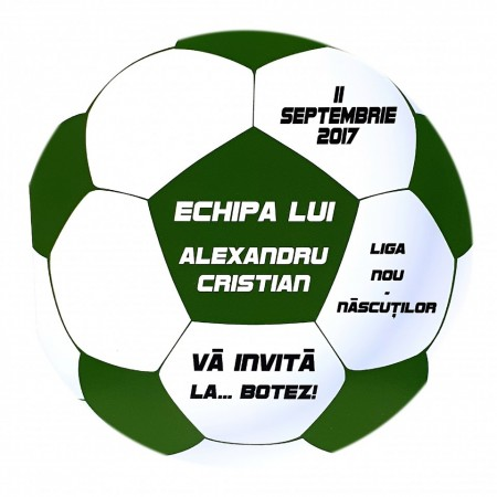 Invitatie Botez Fotbal Alb-Verde