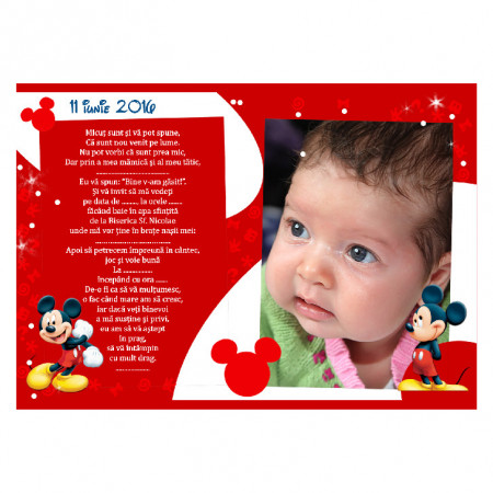 Invitatie Botez Magnetica Mickey Mouse 6