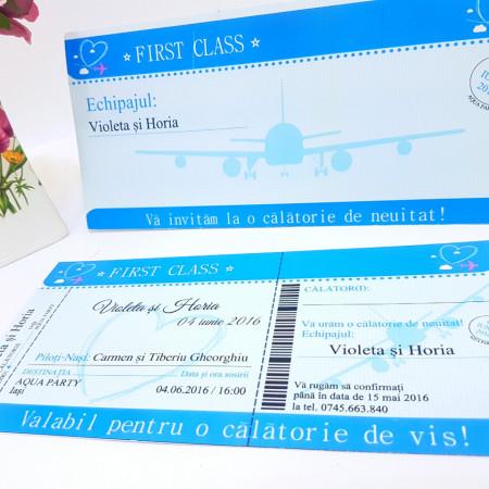 Invitatie Nunta BBS7 Bilet de Avion