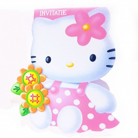 Invitatie Botez Contur Hello Kitty 1