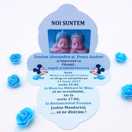 Invitatie Gemeni Contur Mickey Mouse 3