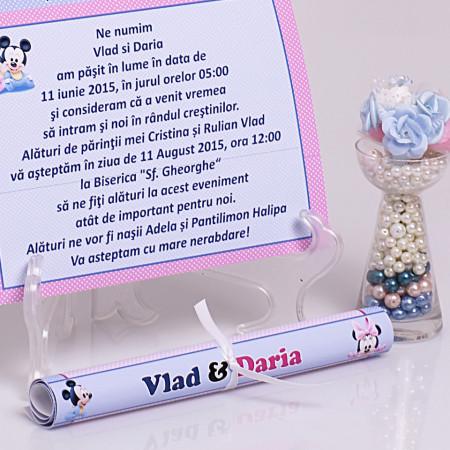Invitatie Gemeni Papirus Mickey-Minnie Var 2