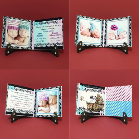 Marturie Gemeni Carticica Bebe Albastru-Roz Var 2