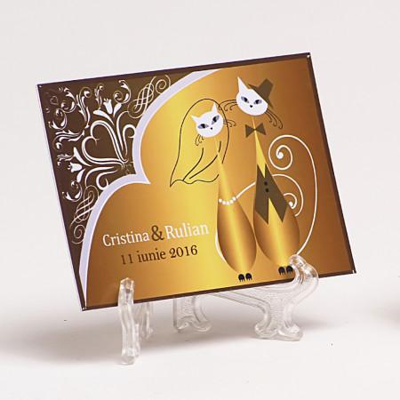 Marturie Nunta Magnet Pisici Gold