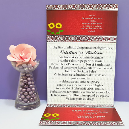 Invitatie Nunta Florale Traditional Romanesc