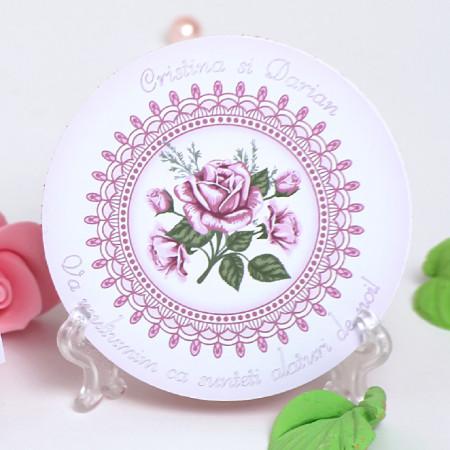 Marturie Nunta Magnet Rotund Roses