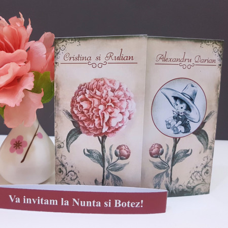 Invitatie 2 in 1 Nunta-Botez Regal NB11