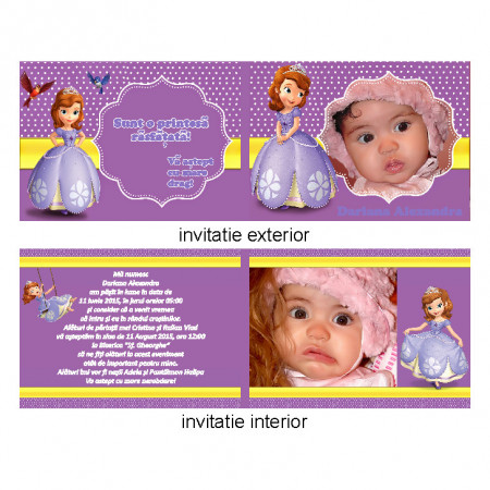 Invitatie Botez Dubla Printesa Sofia 2