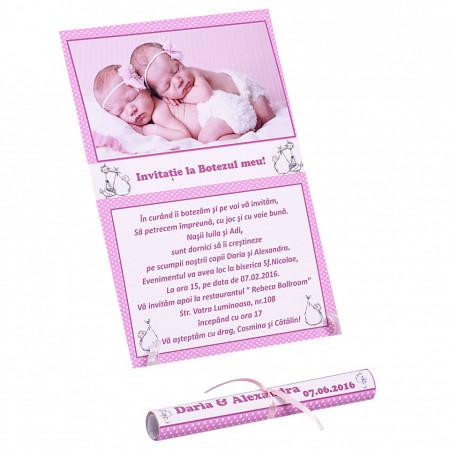 Invitatie Gemeni Papirus 2-Bebeluse Var 2